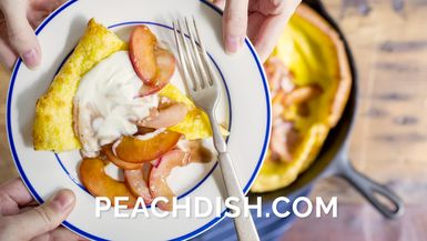 Olivia Smoliga's Dutch Baby with Chevre & Brown Sugar Peaches
